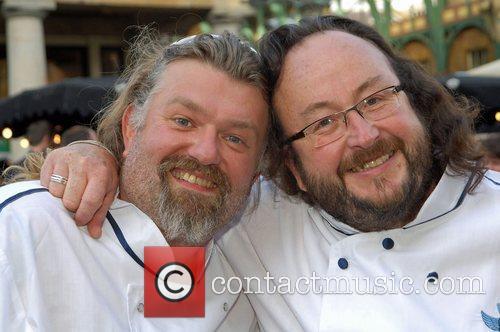The Hairy Bikers, Geordie cooking duo, demonstrate their...