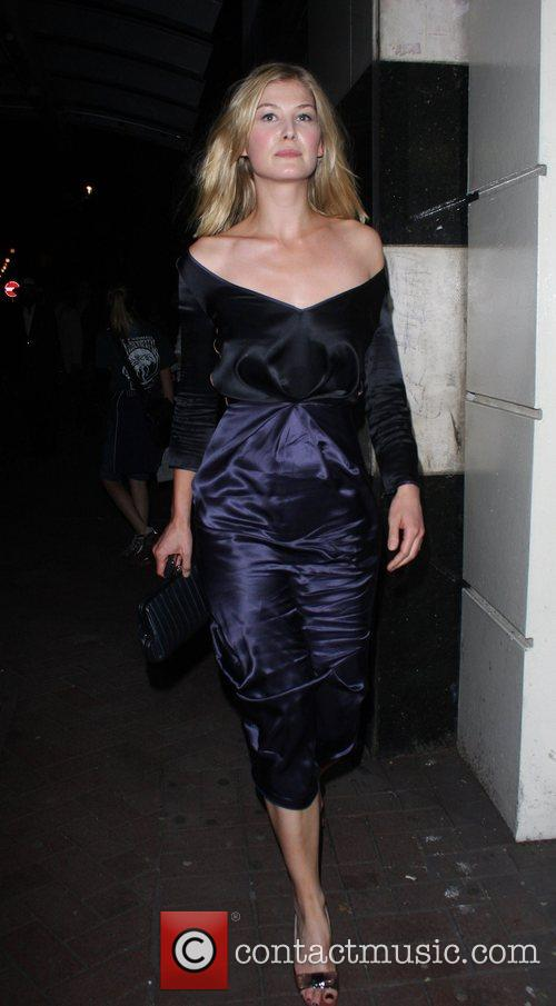 Rosamund Pike leaving the press night for the...