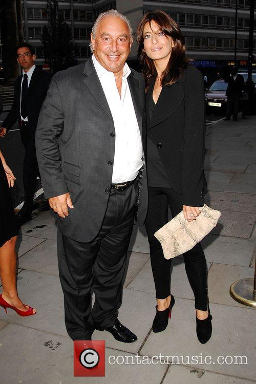 Sir Philip Green and Claudia Winkleman arrives at...