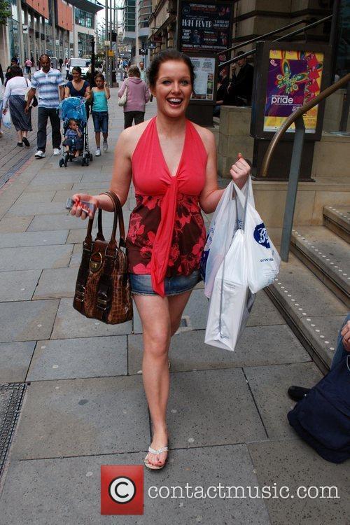 Helen Flanagan seen out shopping in Manchester City...
