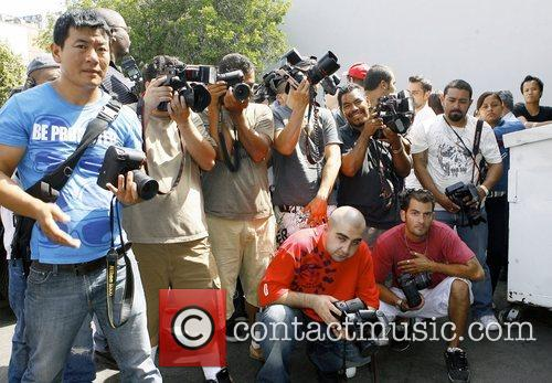 Photographers waiting for Hilary Duff  as she...