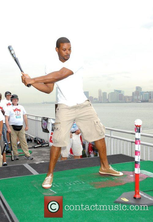 NY Jets' Kerry Rhodes participates in Vitamin Water's...