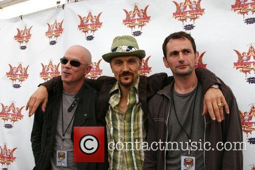 Tim Booth (c) and his band 'James' backstage...