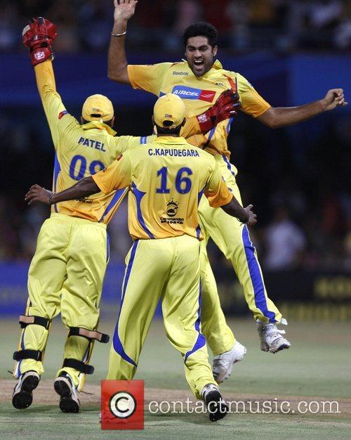 Chennai Super Kings' M.S.Gony celebrates wicket  2nd...