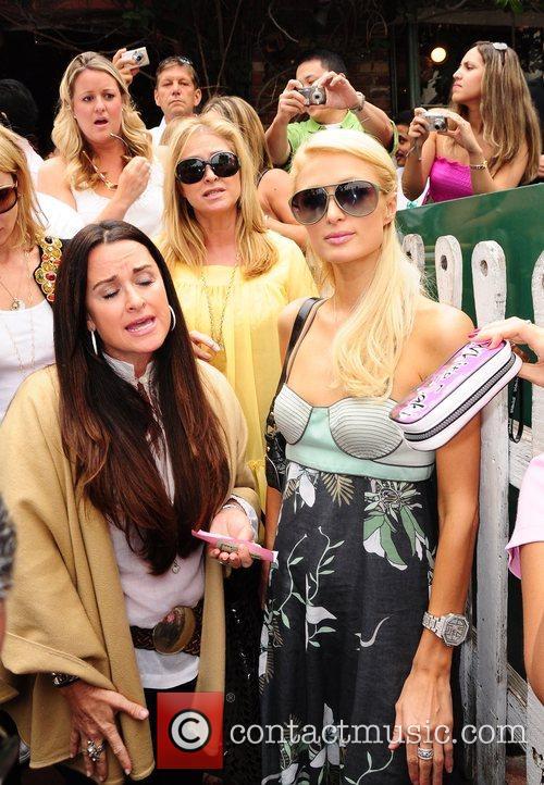 Kathy Hilton and Paris Hilton attempting to leave...