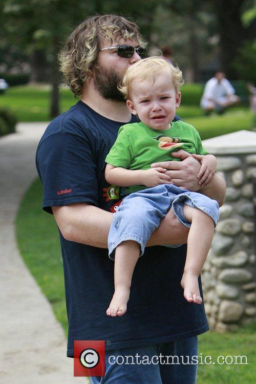 Jack Black plays with his son Samuel at...