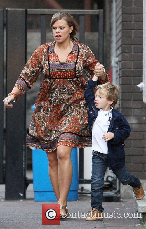 Leaving the GMTV studios with her son Bobby...