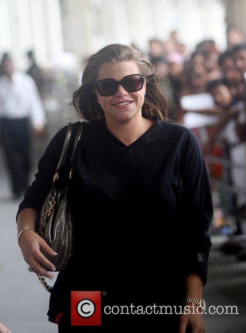 Jade Goody arrives at Sahar airport in Mumbai...