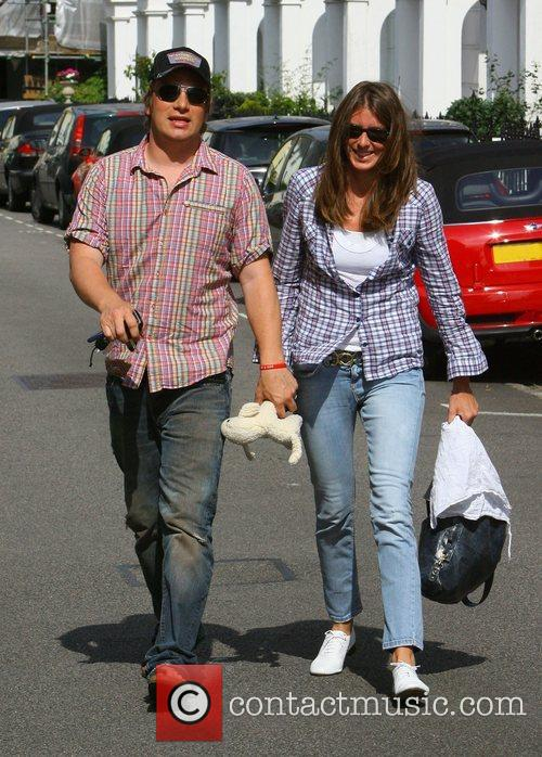 Jamie Oliver and Jools Oliver leaving their home...