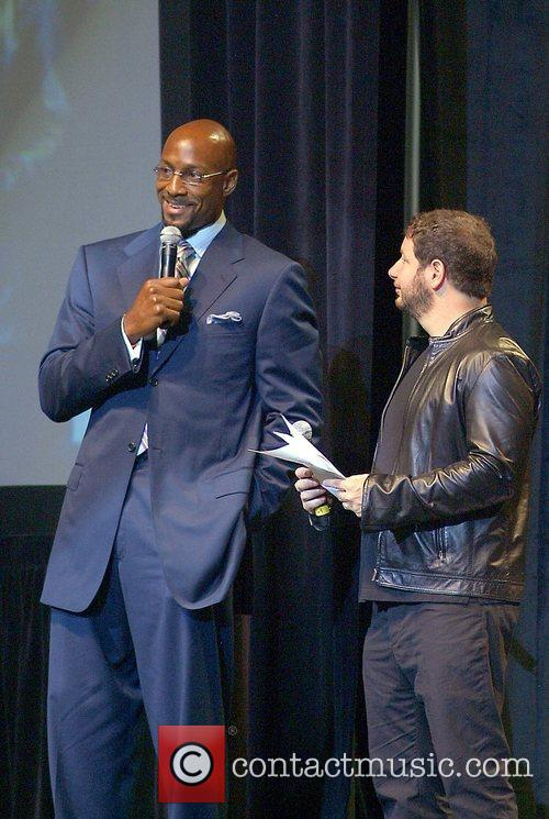Alonzo Mourning and Jeffrey Ross at the Jason...