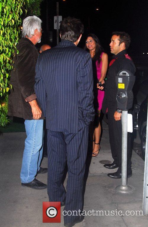 Jeremy Piven outside a restaurant with friends Los...