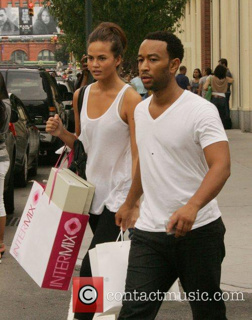 Shopping with his girlfriend Chrissy Teigen in SoHo