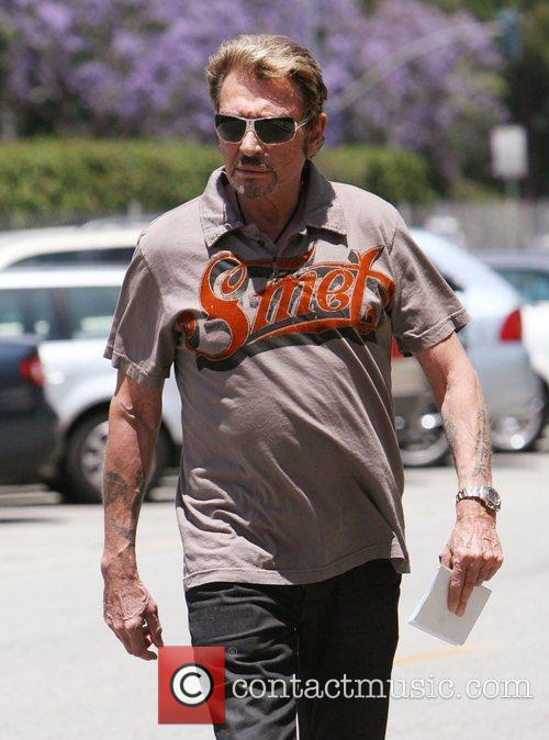 Johnny Halliday out walking in Beverly Hills Los...
