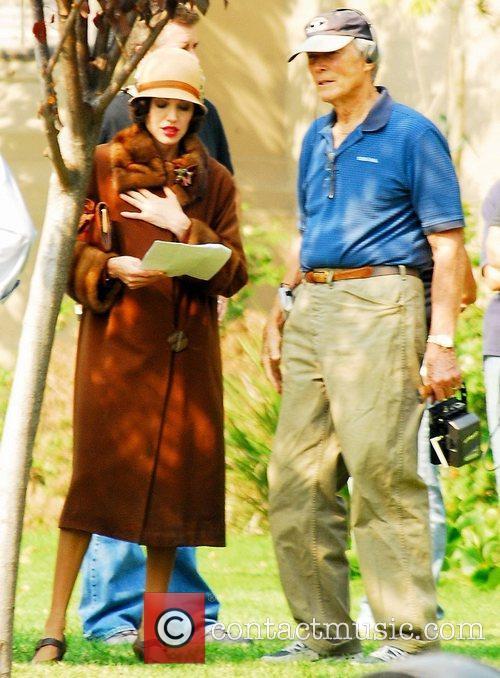 Angeleina Jolie on set filming 'The Changeling' Los...