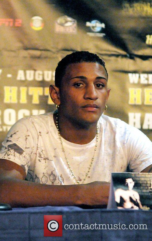 Joel Julio at a press conference at the...