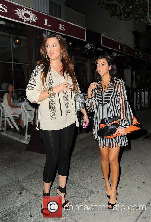 Khloe Kardashian and Kourtney Kardashian leaving El Sole...