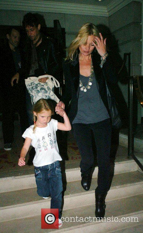 Kate Moss, Lila Grace and Jamie Hince leaving...