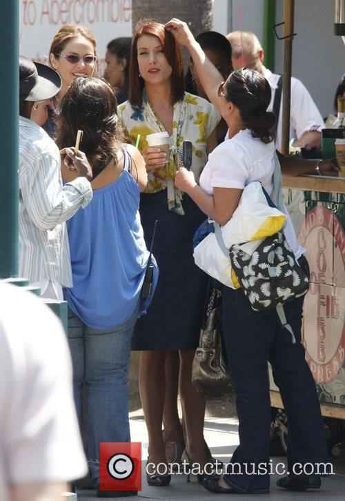 Kate Walsh and Amy Brenneman filming exterior scenes...