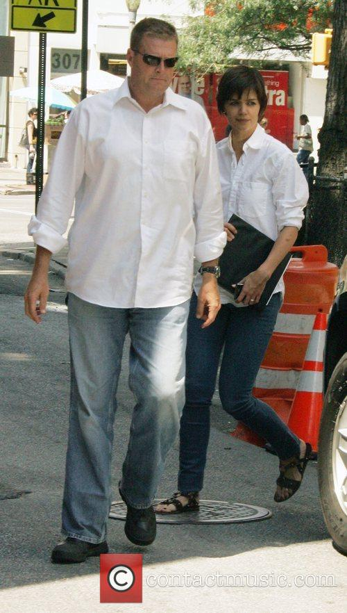 Katie Holmes  takes a lunch break from...