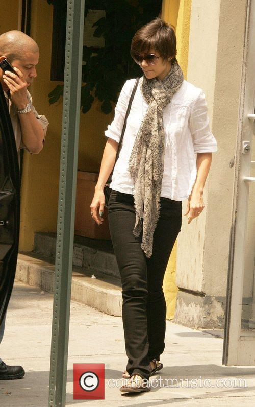 Katie Holmes  takes a lunch break during...