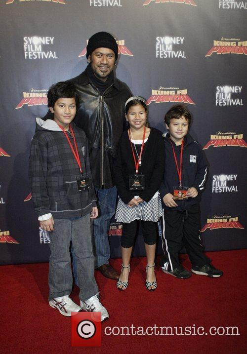 Jay Laga'ia and family Premiere of 'Kung Fu...