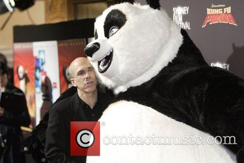 Jeffrey Katzenberg and Po the Panda Premiere of...