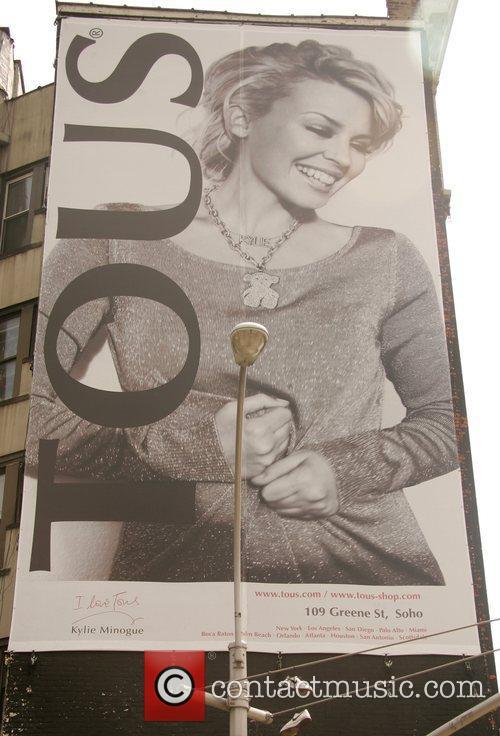 Huge billboard posters of Kylie Minogue, advertising jewelry...
