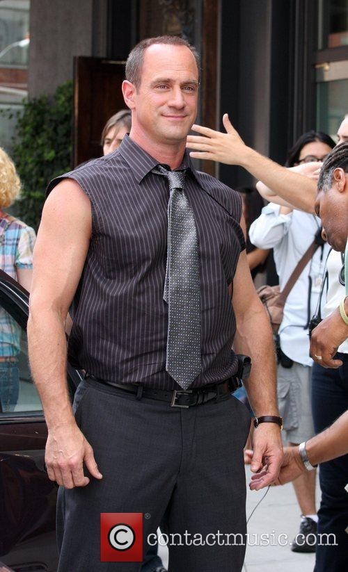 Christopher Meloni filming an episode of Law and...