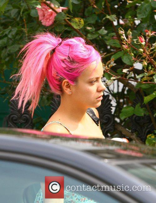 Lily Allen leaving home this morning London, England