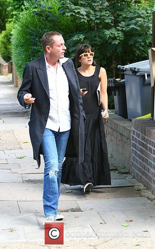 Lily Allen meets a friend for a drink,...