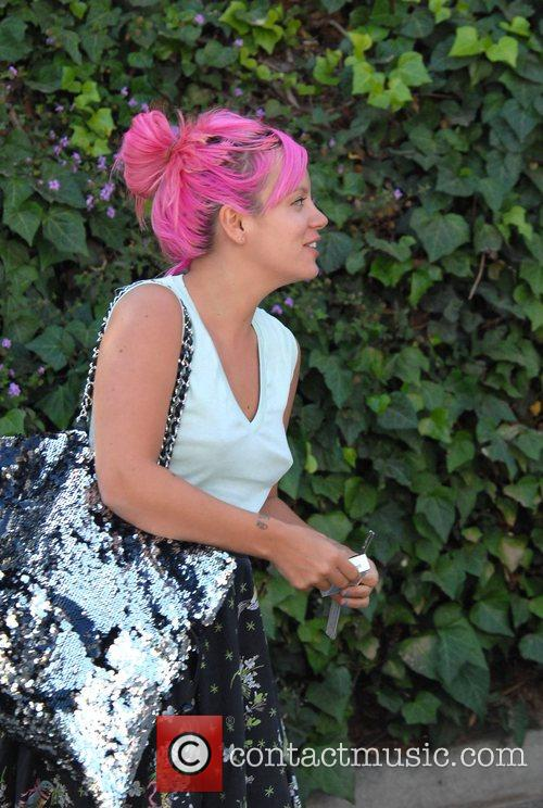 Lily Allen after visiting a nail salon on...