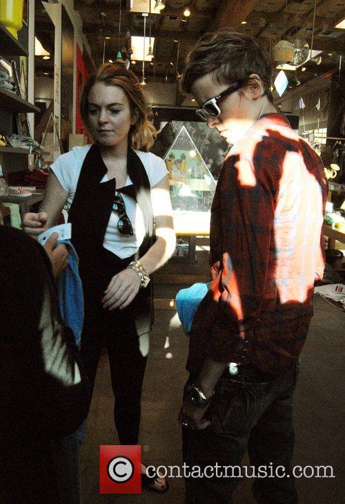 Lindsay Lohan and Samantha Ronson shop at the...