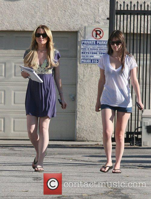 Lindsay Lohan learning her lines on the set...
