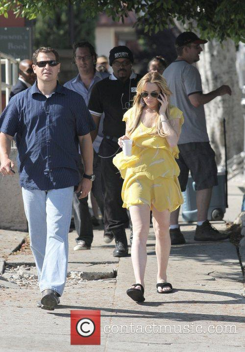 Lindsay Lohan leaving the Larchmont Village set of...