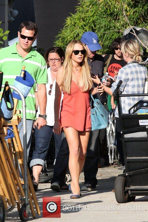 Lindsay Lohan on a movie set, filming at...