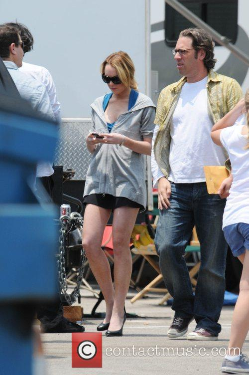 Lindsay Lohan on the set of her upcoming...