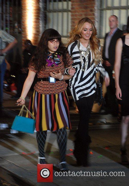 America Ferrera and Lindsay Lohan on location on...