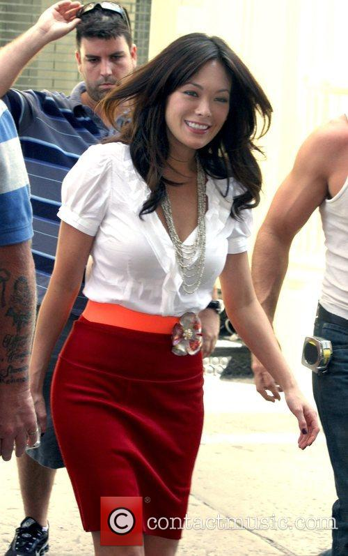 Lindsay Price filming a scene for the television...