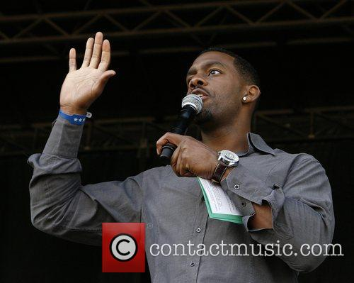 Richard Blackwood on stage in Hyde Park following...