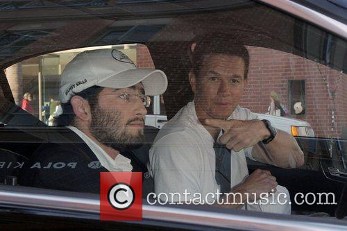 Mark Wahlberg drives away from a medical centre...