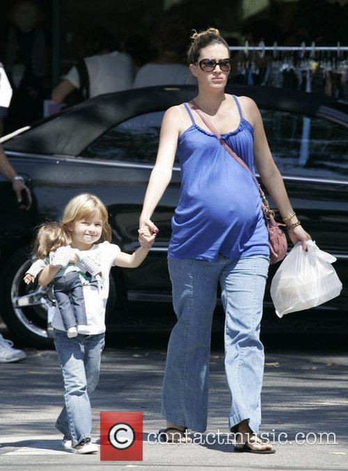 Heavily pregnant Rhea Durham and daughter Ella Wahlberg...