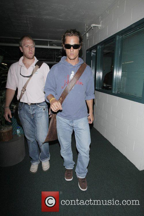 Matthew McConaughey leaving Newsroom after having lunch with...