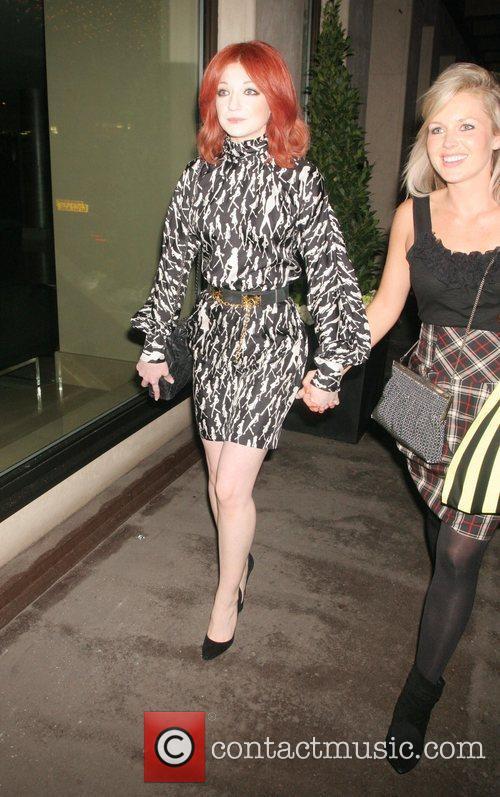 Nicola Roberts leaving the Mayfair Hotel London, England