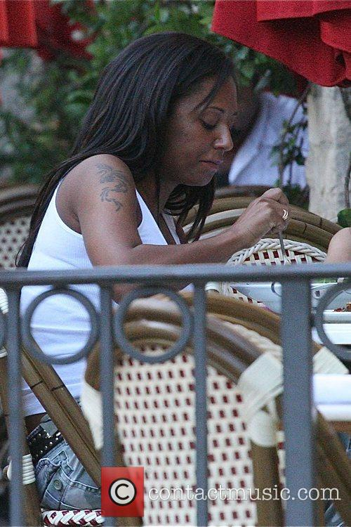 Melanie Brown eating her lunch at the Grove....
