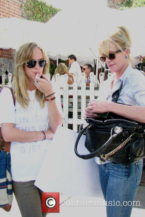 Melanie Griffith and Daughter Dakota Mayi At The Ivy After Shopping At Chanel Boutique On Robertson Boulevard 2