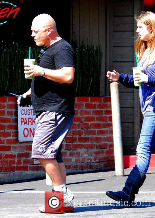 Michael Chiklis picks up some Starbucks with his...