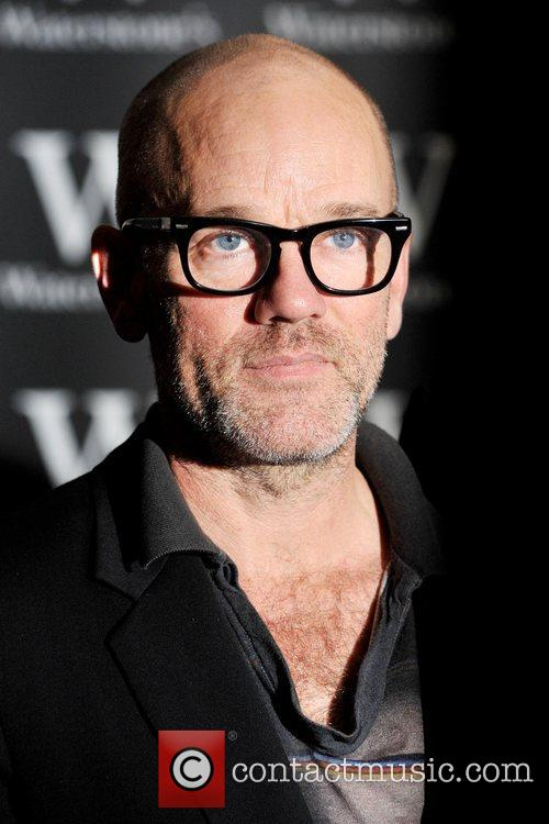 Michael Stipe of R.E.M signing his new book...