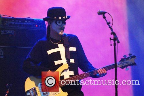 A Mighty Boosh character performs  at the...