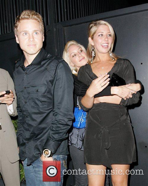 Heidi Montag, her sister and Spencer Pratt leaving...