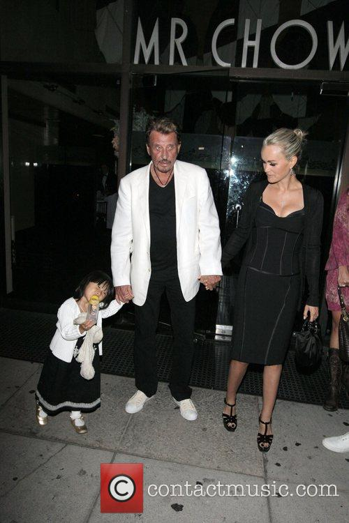 Johnny Hallyday, Laetitia Boudou and daughter Jade leaving...
